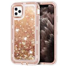 "iPhone 11 Pro Max Case, Anuck 3 in 1 Hybrid Heavy Duty Defender Armor Sparkly Floating Liquid Glitter Protective Hard Shell Shockproof Anti-slip TPU Bumper Cover for iPhone 11 Pro Max 6.5"" - Rose Gold"