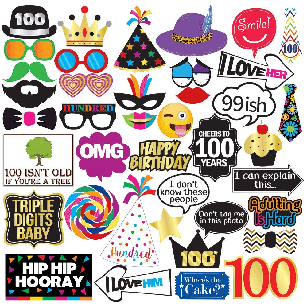 100th Birthday Photo Booth Party Props - 40 Pieces - Funny 100th Birthday Party Supplies, Decorations and Favors
