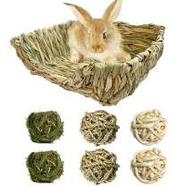 PINVNBY Bunny Grass Bed Rabbit Hay Mat Natural Handcrafted Woven Grass House Pet Bedding for Small Rabbits Hamster Bunny Chinchillas Guinea Pigs Cat and Small Animals provided Chew and Toys