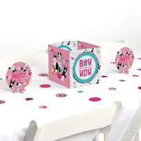 Big Dot of Happiness Pawty Like a Puppy Girl - Pink Dog Baby Shower or Birthday Party Centerpiece and Table Decoration Kit