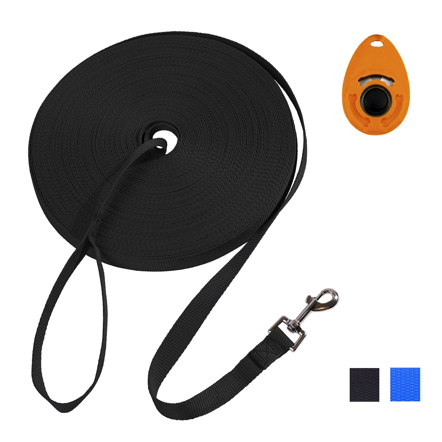 Hi Kiss 30ft 50ft 100feet Black Extra Long Line Training Dog Leash - for Large,Medium and Small Dogs - Long Lead - Great for Training, Play, Camping, or Backyard