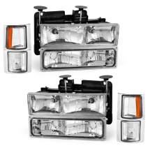 OEDRO Headlight Assembly Set Compatible with 1994-1999 Chevy Silverado/ Tahoe/ Suburban/ C/K Chevrolet Headlamps Chrome Housing w/ Amber Reflectors Clear Lens Housing