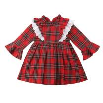 Baby Sister Christmas Matching Dress Infant Girls Ruffled Long Sleeve Red Plaid Romper Outfits