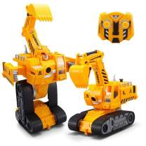 YARMOSHI Excavator Robot Tractor with Remote Control and USB Charger. Lights Up with Flashing Lights. Plays Music and Dances. Fun Gift for Boys and Girls, 7.5x7x10 Inches. Age 5+. Yellow