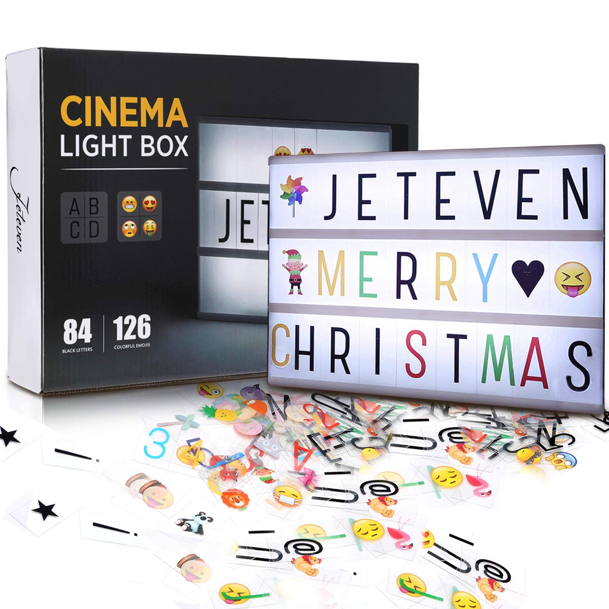 Jeteven Cinema Light Colors Box Colorful Letters Emojis LED for Home Decor Wedding Birthday Parties (White Light)