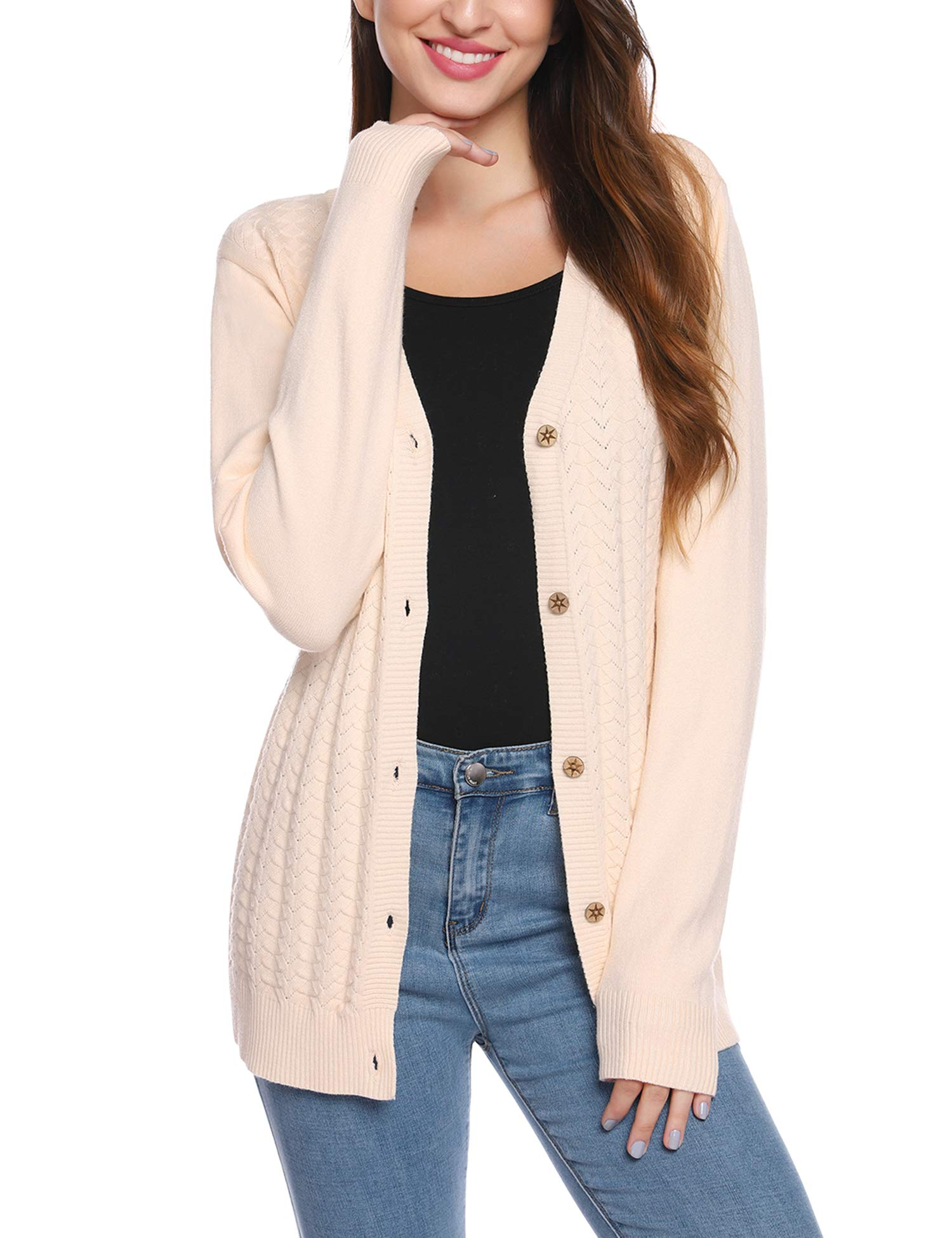 iClosam Women Long Sleeve V-Neck Button Down Thick Knit Cardigan Sweater