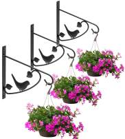 Sorbus Hanging Plants Bracket Wall Planter Hook – Decorative Hanger for Flower Pots, Bird Feeders, Wind Chime Lanterns – Outdoor Indoor Fence, Trees, Patio Lawn Garden, 3-Pack (Black)