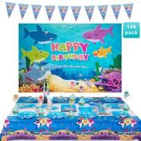 146 Pcs Shark Baby Party Supplies Set , Shark Baby Birthday Decoration, Shark Party Decoration, Children Carnival Party Supplies Decoration Includes 3' x 5' Shark Happy Birthday Theme Backdrop,Disposable Tableware Kit