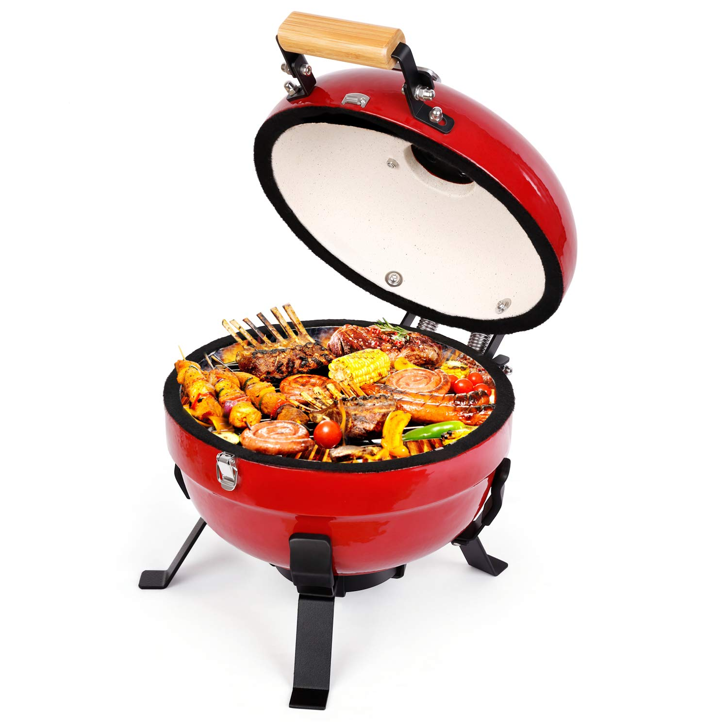 TUSY Ceramic Griller Charcoal Grill Advanced Portable Red, 12-Inch Foldable Barbecue Grilling Charcoal Oven with Digital Thermometer.