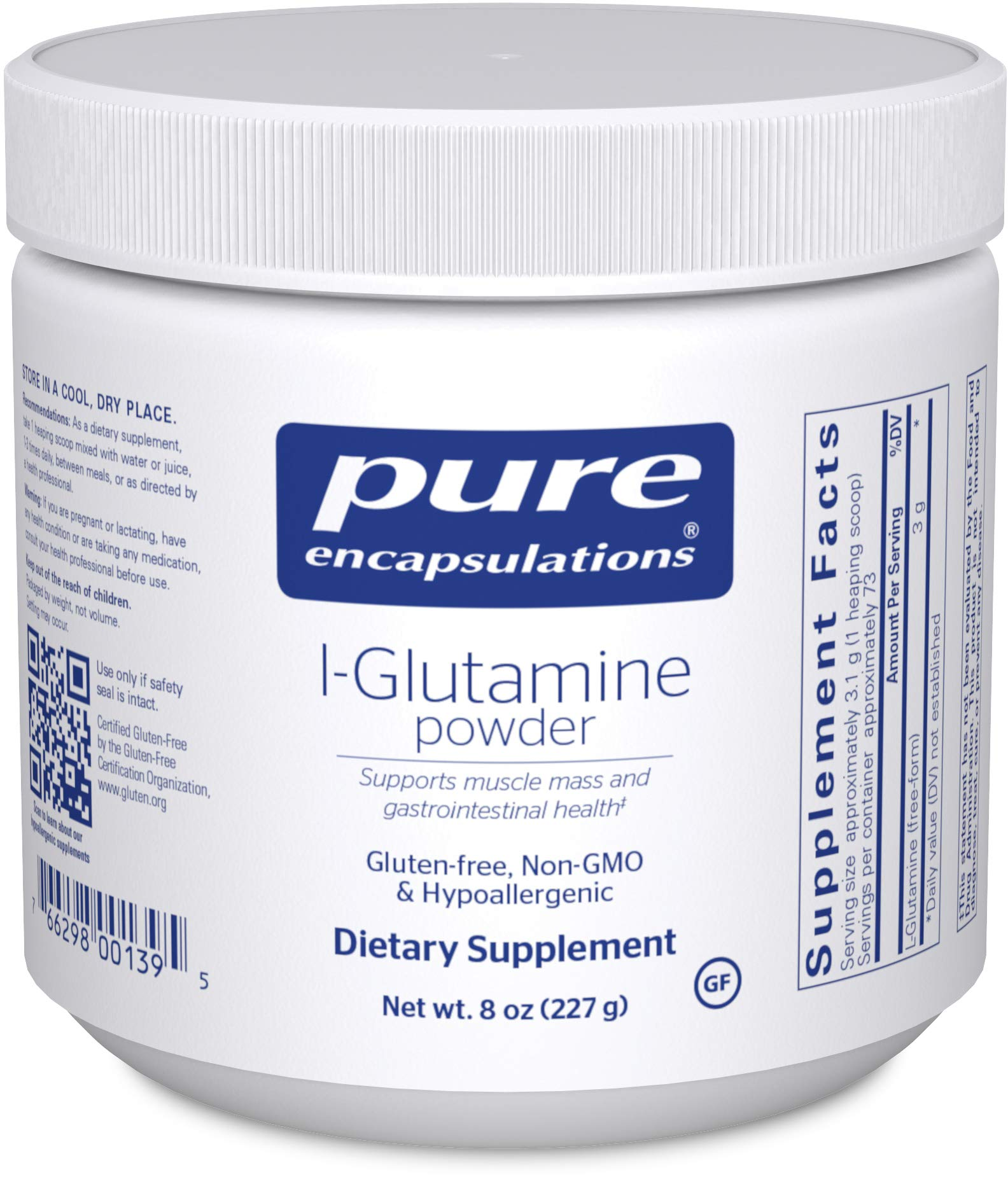 Pure Encapsulations - l-Glutamine Powder - Hypoallergenic Supplement Supports Muscle Mass and Gastrointestinal Tract - 8 Ounces