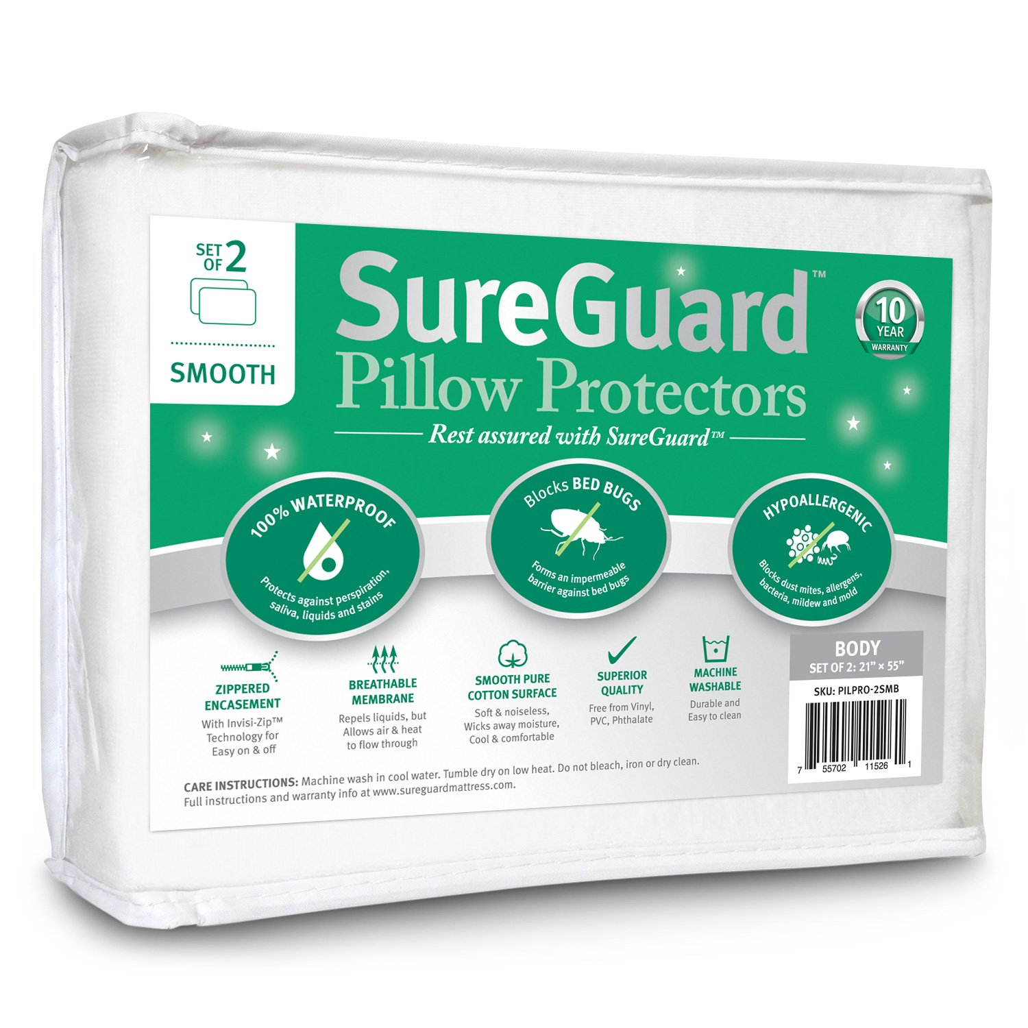 Set of 2 Body Size SureGuard Pillow Protectors - 100% Waterproof, Bed Bug Proof, Hypoallergenic - Premium Zippered Cotton Covers - 10 Year Warranty - Smooth