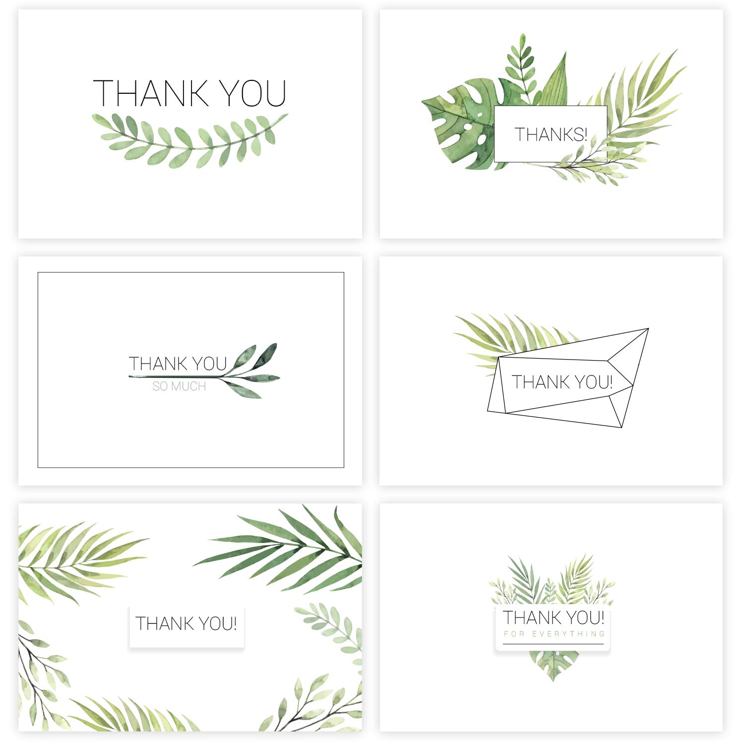 Thank You Cards w/Stickers - 36 Watercolor Floral Thank You Notes Box Set with 36 White Envelopes - For Wedding, Baby and Blank Inside - Perfect Bridal Shower, Business - 4 x 6 Size