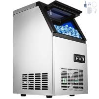 Happybuy 110V Commercial Ice Maker 100lbs/24h with 29lbs Storage 4x8 Cubes Stainless Steel Auto Clean for Bar Home Supermarkets Includes Scoop and Con, Sliver