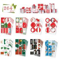 KIPIDA 264 PCS Christmas Gift Tags,Christmas Stickers Name Tags Xmas to from Present Labels Self Adhesive Gift Tag Stickers-Santa Snowmen Tree Deer Stickers Decorative for Christmas Festival Holiday