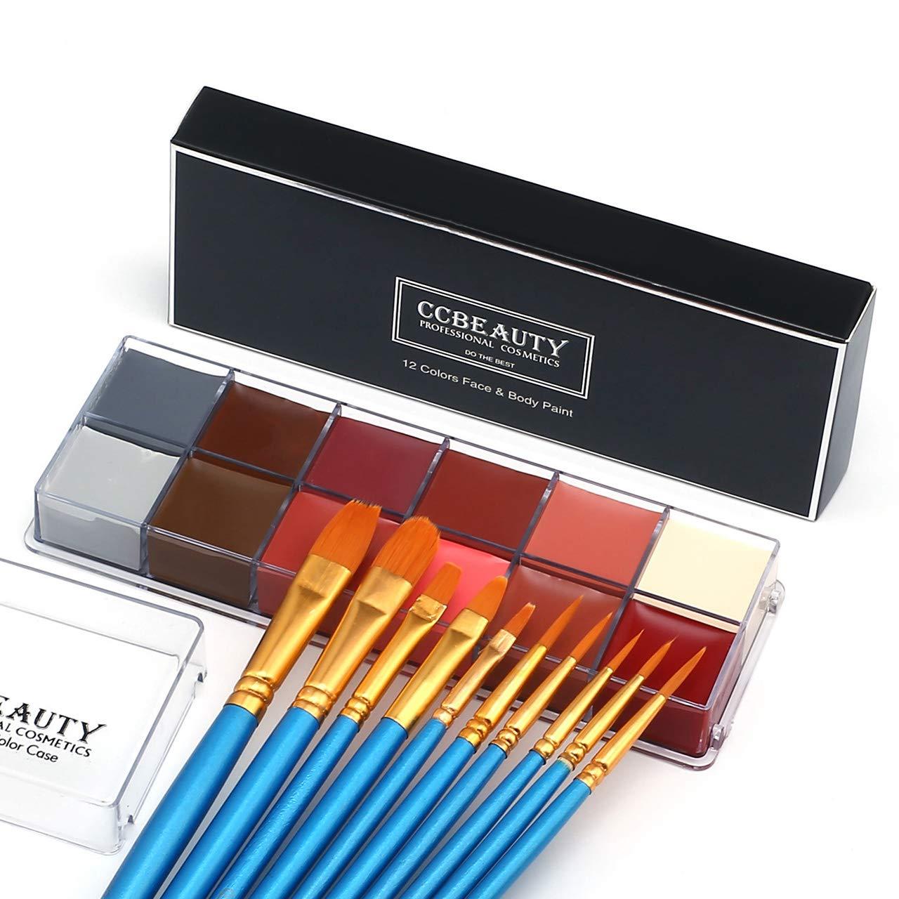 CCBeauty Professional Face Paint Oil 12 Colors Painting Art Party Fancy Make Up Set,#2
