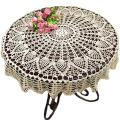 KEPSWET Cotton 36 inch Round Sunflower Beige Handmade Crochet Lace Tablecloth Doily