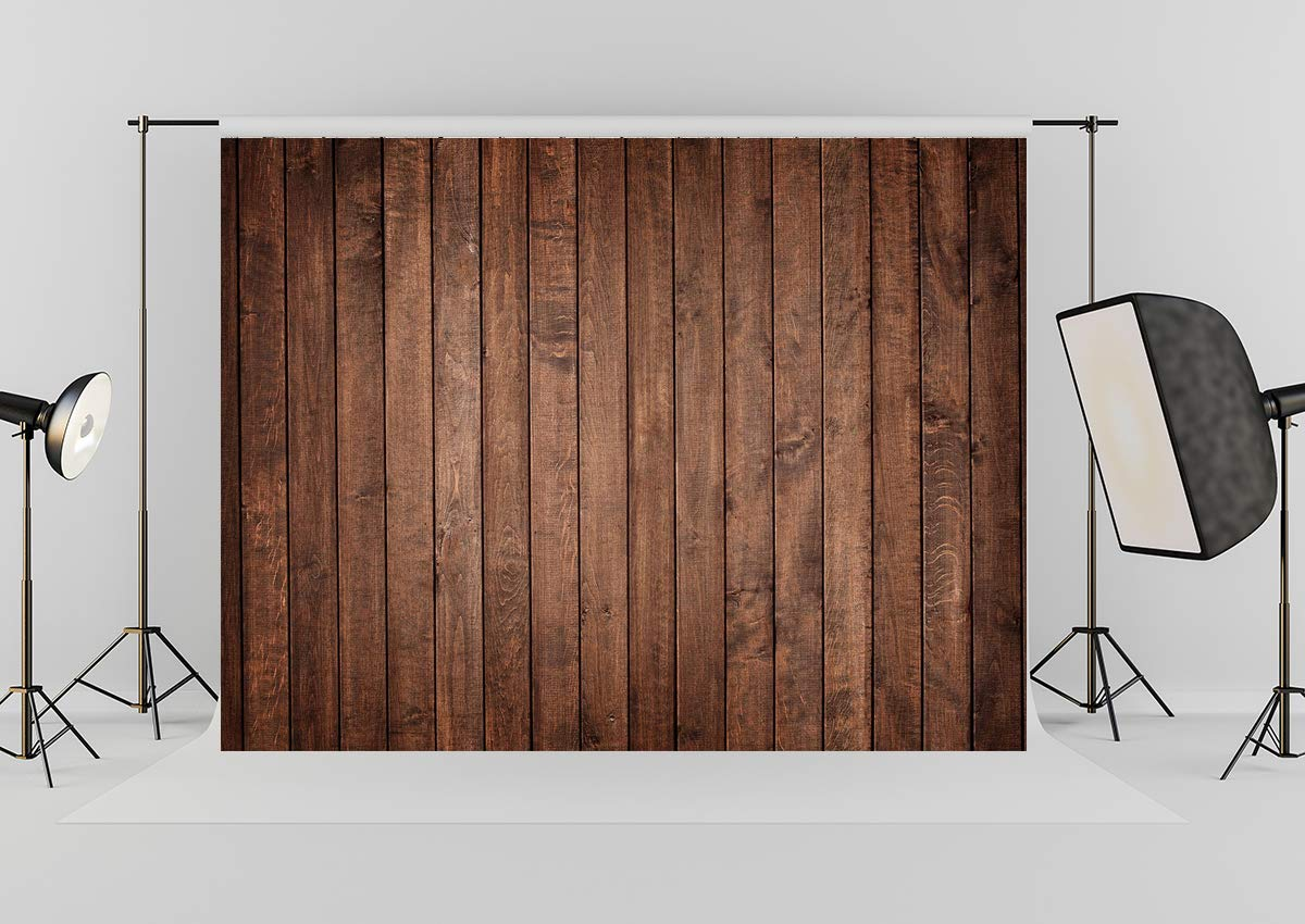 Wood Backdrop -7x5ft Brown Wood Background Thick Cloth Brick Wood Photo Backdrop for Newborn Baby Shower Birthday Party Photo Studio Props