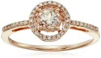 Jewelili 10kt Rose Gold 5mm Round Morganite and 1/10cttw Natural White Diamond Halo Ring