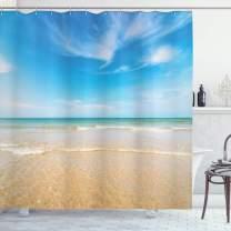 "Ambesonne Ocean Shower Curtain, Sea and Sky Landscape at Beach in Tropical Exotic Hawaiian Caribbean Lands, Cloth Fabric Bathroom Decor Set with Hooks, 70"" Long, Cream Blue"