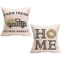 DFXSZ Spring Pillow Covers 18x18 Farmhouse Pillow Covers 18x18 Decorations Buffalo Truck Wreath Flowers Throw Pillow Covers for Home Farmhouse Decor