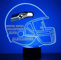 Mirror Magic Light Up LED Lamp - Football Helmet Night Light for Bedroom with Free Personalization - Features Licensed Decal and Remote (Seahawks (Seattle))