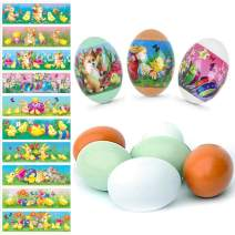 BigOtters Easter Egg Sticker Wrappers Set, 30PCS Kits Including 24PCS Heat Shrink Wrap Sleeve Decor with 6PCS Easter Wooden Eggs for Fun Easter Favor Gift