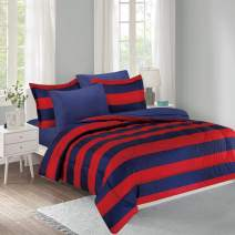 Mytex Home Fashions Show Your Colors 11-Piece Bed in a Bag Set Varsity Stripe, Featuring Brushed Fabric for Added Softness, Collegiate Style, Navy/Red/White, Full