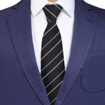 Y&G Men's Fashion Black Dress Ties Men Stripes Relax Necktie Set