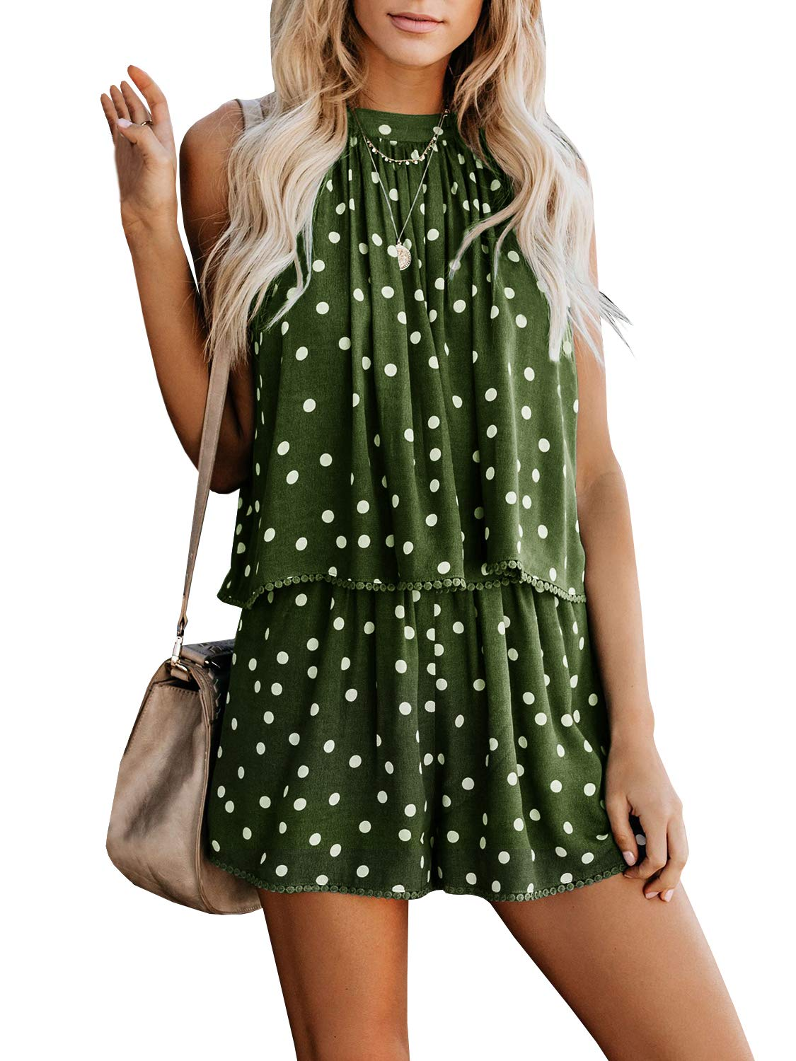 Gemijack Womens Casual Halter Romper Ploka Dot Lace Trim Outfit Crop Sleeveless Flare Jumpsuit Playsuit