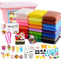 HOLICOLOR 24 Pack Air Dry Clay Kit ( 1.76 Ounces per Pack) Large Weight Colorful Magic Modeling Clay Soft Ultra Light Clay Set with Many Accessories, Best Gift for Kids Students DIY Crafts