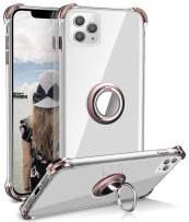 iPhone 11 Pro Max Case, Daupin Clear iPhone 11 Pro Max Case with 360 Rotatable Ring Kickstand Soft TPU Bumper PC Hard Back Protective Phone Case for iPhone 11 Pro Max (Rose Gold)