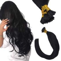 Sunny I Tip Hair Extensions Human Hair Pre Bonded 22Inch #1 Jet Black Silky Straight Hair Extensions Keratin with Salon Style 100% Real Human Hair(Keratin,50G,1G/S)