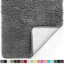 Gorilla Grip Original Luxury Chenille Bathroom Rug Mat, 60x24, Extra Soft and Absorbent Shaggy Rugs, Machine Wash Dry, Perfect Plush Carpet Mats for Tub, Shower, and Bath Room, Gray