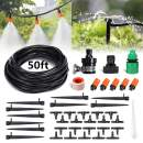 PATHONOR Drip Irrigation Kits,50ft/15m Plant Watering Kit Tubing Hose Adjustable Nozzles,Mist Irrigation System Irrigation Set for Garden, Greenhouse, Patio, Lawn (Plant Watering Kit)