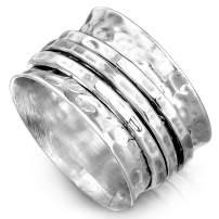 Boho-Magic 925 Sterling Silver Spinner Ring for Women 3 Fidget Rings Band Wide Hammered