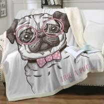 "Sleepwish Pug Fleece Blanket Kids Pet Blanket Dog Reversible Ultra Luxurious Plush Blanket Soft Sherpa Blanket Throw Blanket Pug Lover Gifts,Pink, Baby(30""x40"")"