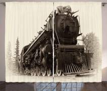 """Ambesonne Steam Engine Curtains, Antique Northern Express Train Canada Railways Photo Freight Machine Print, Living Room Bedroom Window Drapes 2 Panel Set, 108"""" X 84"""", Black Grey"""