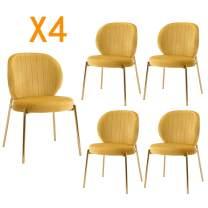 DAGONHIL Velvet Dining Chair,Upholstered Makeup Stool with Golden Metal Leg,Set of 4(Yellow)