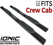 """Ionic 'Pro' Series 5"""" Black Oval Nerf Bars 2009-2014 Dodge Ram 1500 and 2010-2013 2500 3500 Gas Crew Cab Only Truck Side Steps (520309)"""