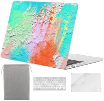 Sykiila for MacBook Pro 13 Inch with Touch Bar Case 2020 2019 2018 2017 Model A2159 / A1989 / A1708 / A1706 Keyboard Cover & Sleeve & HD Screen Protector 4 in 1 - Colorful Wall