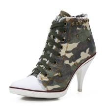 Women's Canvas Ankle Bootie Rivet Lace up High Heel Sneakers