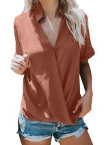 Asvivid Womens Wrap V Neck Short Sleeve Draped Tops Casual Loose Summer Chiffon Blouses T-Shirt