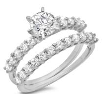 3.0ct Round Cut Pave Solitaire with Accent Stunning Genuine Moissanite & Simulated Diamond Engagement Promise Statement Anniversary Bridal Wedding Ring band set Solid 14k White Gold