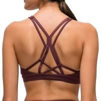 Lavento Women's Strappy Sports Bra Padded Medium Support Workout Yoga Bra Tops