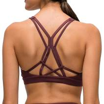Lavento Women's Strappy Sports Bra Padded Medium Support Workout Yoga Bra Tops