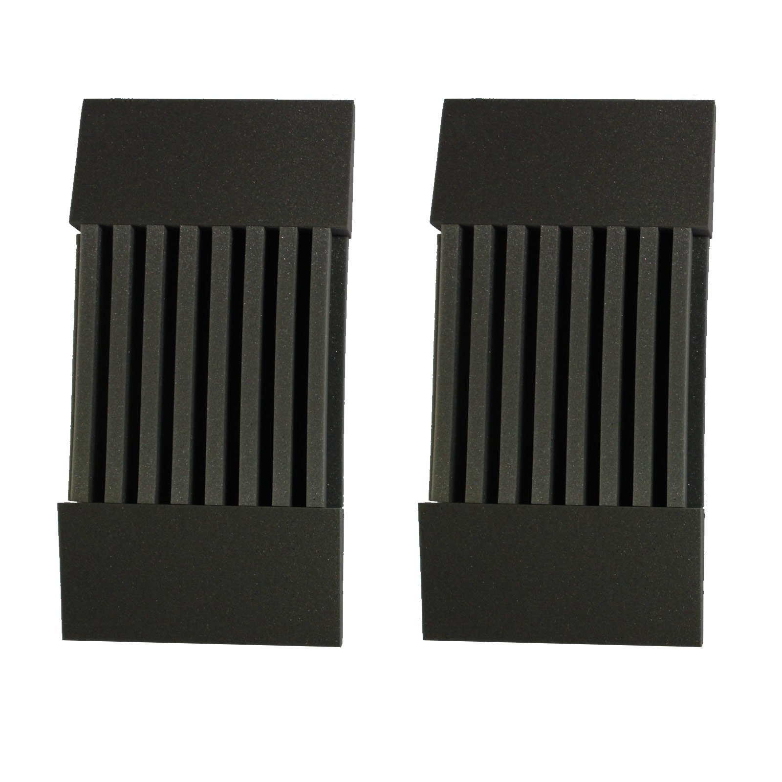 """Mybecca 2 Pack Decorative Acoustic Panels Soundproofing Studio Foam Wedges 3"""" X 12"""" X 24"""" (Decorative Baffle Kit) - Made in Usa - Color Charcoal"""