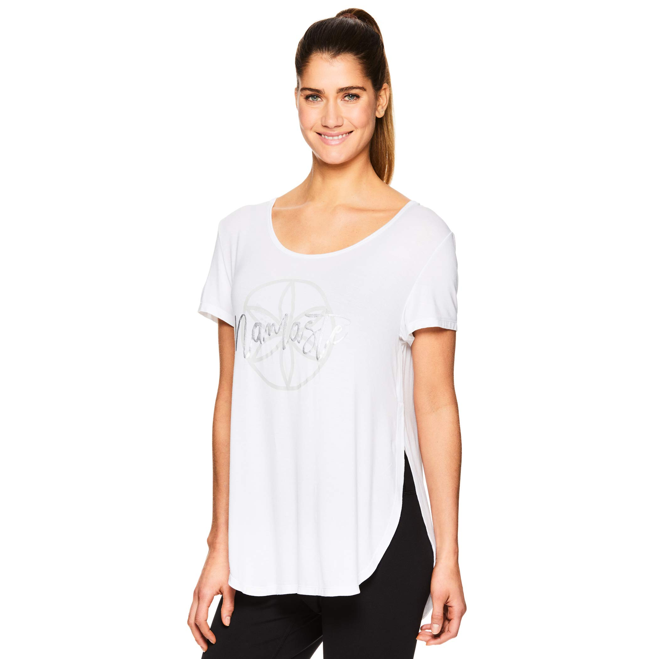 Gaiam Women's Open Back Yoga T Shirt - Relaxed Fit Short Sleeve Workout & Training Top