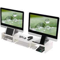 Superjare Updated Dual Monitor Stand Riser, Adjustable Screen Stand, Desktop Stand Storage Organizer for Laptop Computer/TV/PC/Printer, 2 Extra Functional Slot for Tablet/Pen/Phone - White