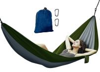 Avalanche Hammock Portable Single or Double Parachute Lightweight Strong Enforced Nylon Includes 2 Carabiners (Green, Single Person)