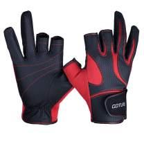 Goture Anti-Slip Fishing Gloves for Men Water Resistant Skidproof 3 Fingerless Outdoor Sports